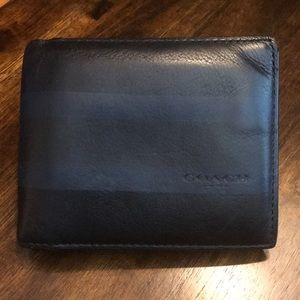 COACH Black Wallet with Dark Navy Stripe